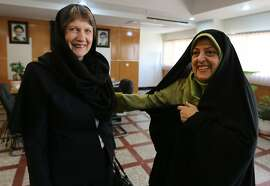 Iranian Vice President and Head of Environmental Protection Organization Massoumeh Ebtekar (R) meets with UN Development Programme administrator Helen Clark in Tehran on October 22, 2013.  Iran's Deputy Foreign Minister Abbas Araqchi criticised the United Nations policies, urging the international body to embrace essential reforms and consider more active role for developing countries, ISNA news agency reported at a ceremony to mark the 68th anniversary of the founding of the UN. AFP PHOTO/ATTA KENAREATTA KENARE/AFP/Getty Images