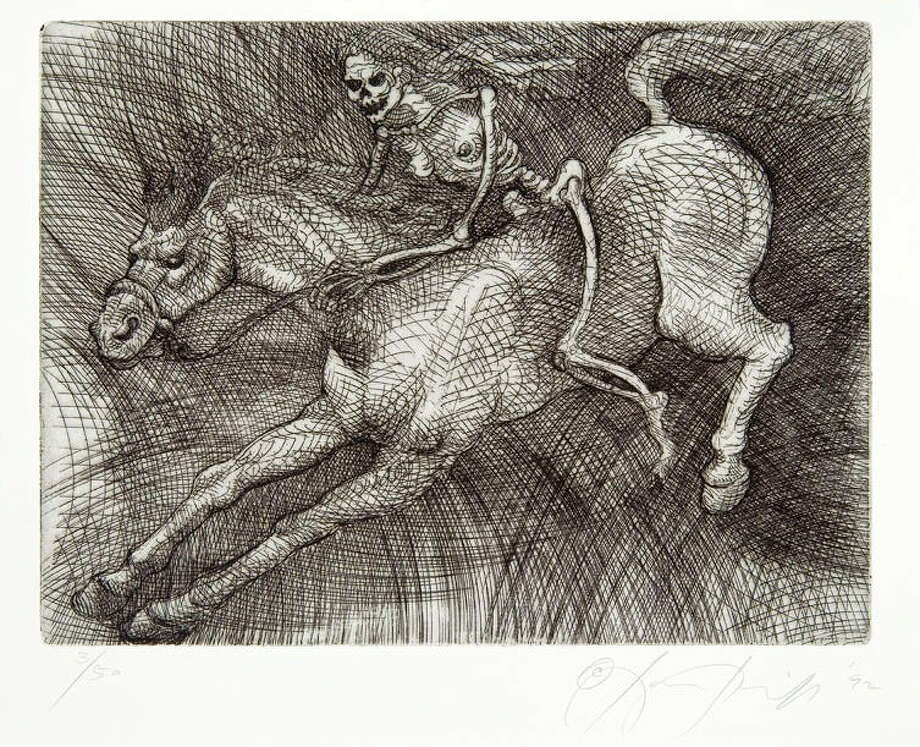 """""""A Veces Viene a Trote, a Veces a Galope"""" is an etching from the 1992 suite """"Day of the Dead"""" by Luis Jiménez. Photo: Courtesy McNay Art Museum"""
