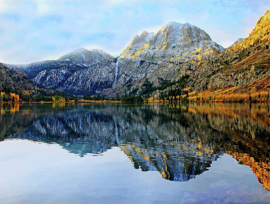 Silver Lake in the Inyo National Forest acquires a fringe of gold in mid-October. Photo: Nicholas Barnhart
