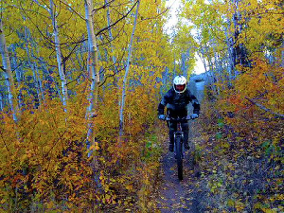 Mountain biking through orange and yellow foliage in Lower Rock Creek, in the Eastern Sierra northwest of Bishop. Photo: Rob McSkimming