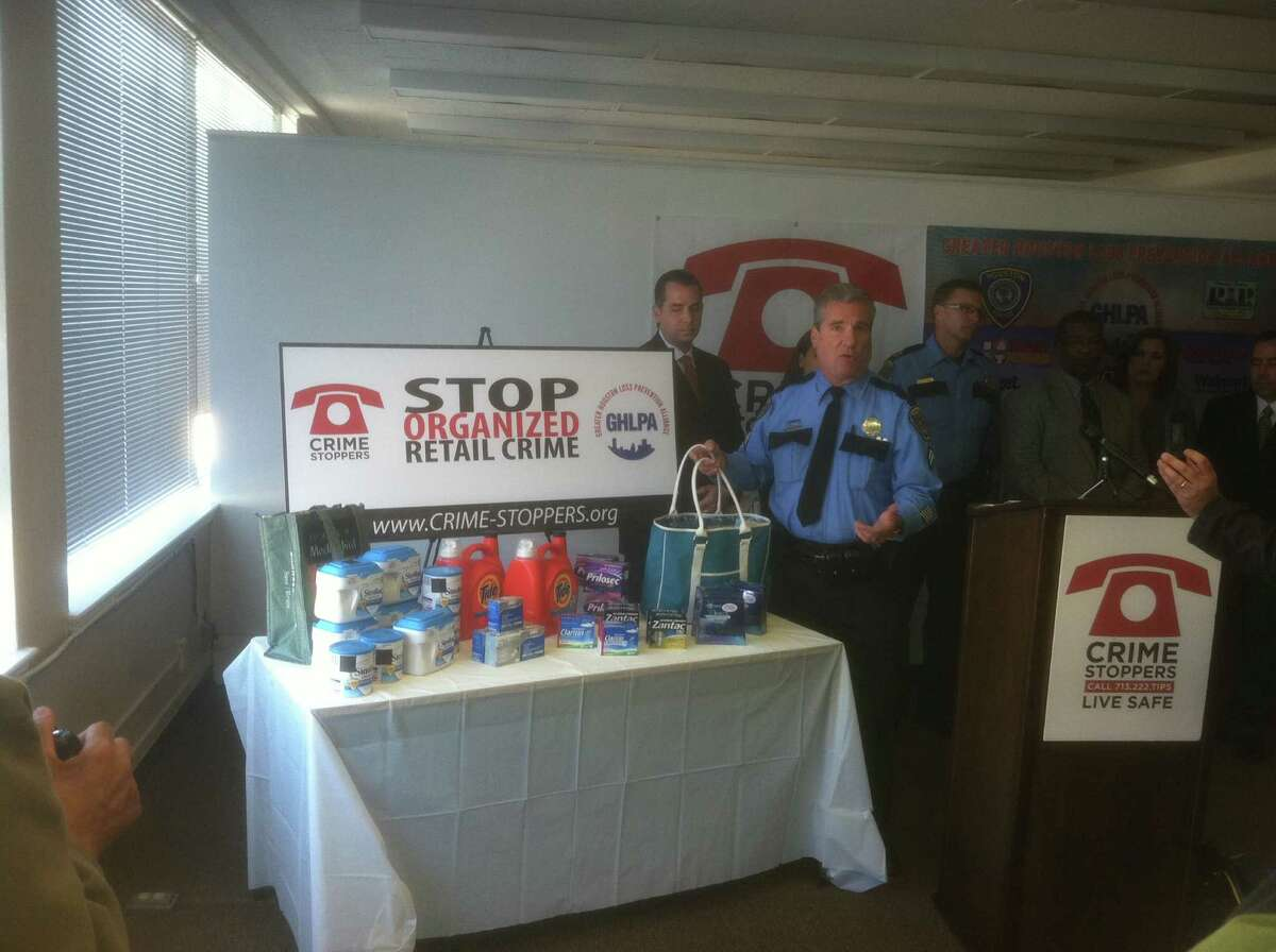 HPD Officer James Sobota speaks during a Crime Stoppers news conference about preventing shoplifiting Wednesday morning. (Dale Lezon/HC)
