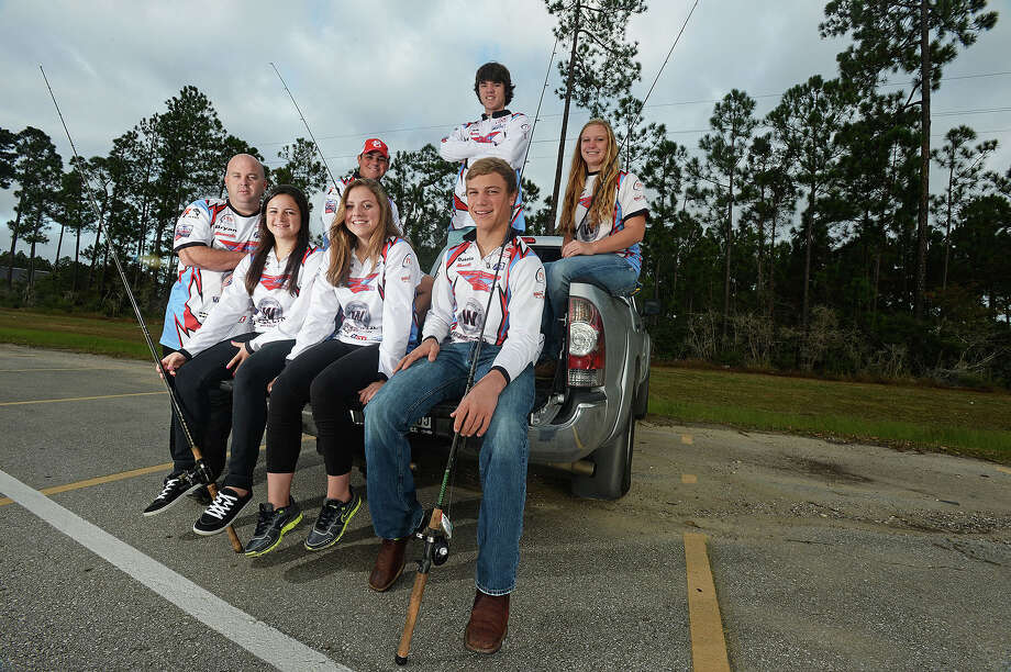From right to left, Kennedy Cline, Dakota Cline, Luke Hodgkinson, Brianna Falcon, Josh Wellons, Mallory Duhor, and coach Bryan Thomas represent the  Lumberton high fishing club which has a total 82 members. Michael Rivera/michaelrivera88