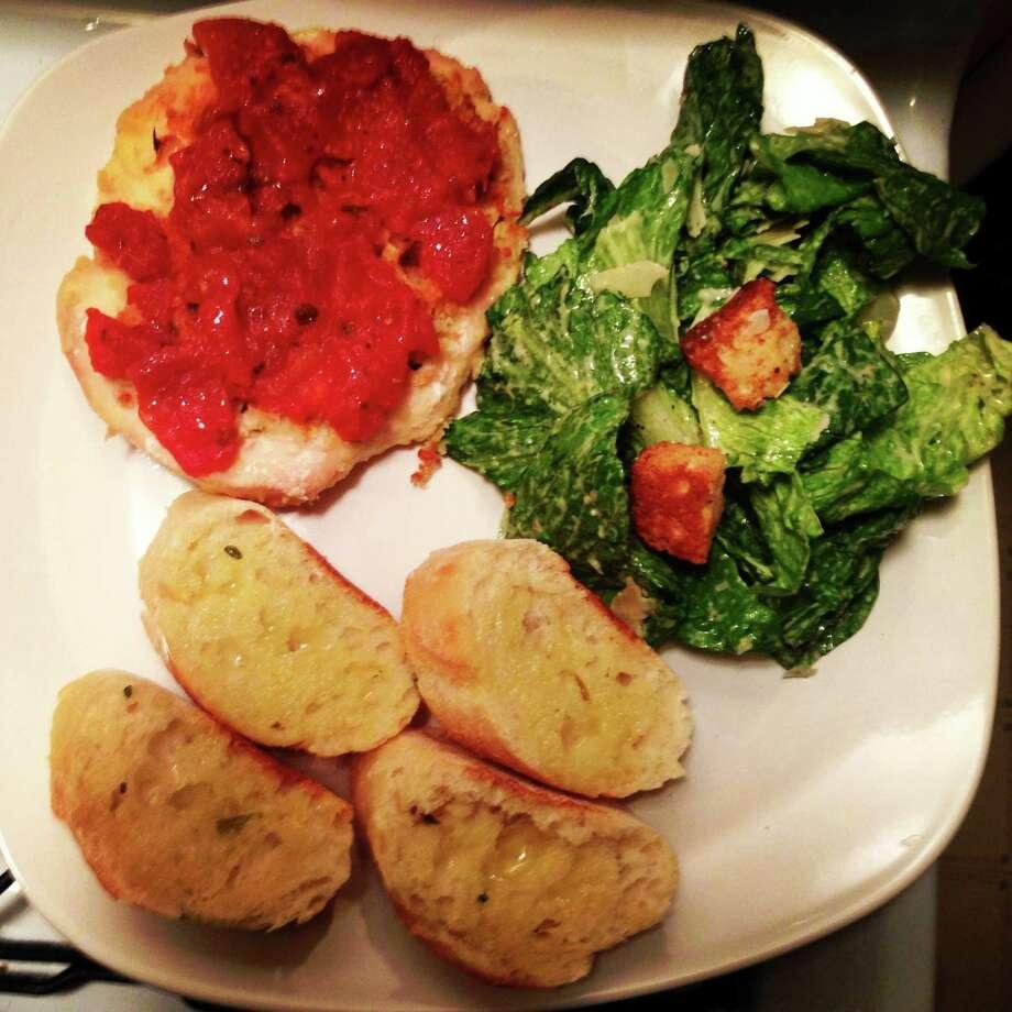 Kate Morgan ate bruchetta chicken, fresh garlic bread and Caesar salad this weekend.