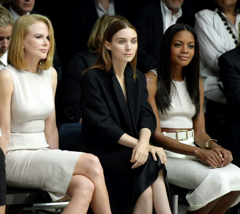 Actresses Nicole Kidman (from left), Rooney Mara and Naomie Harris scout for ferosh genius from the frow of the Calvin Klein Collection fashion Show at Spring Studios on Sept. 12 in New York. Photo: Andrew H. Walker / Getty Images