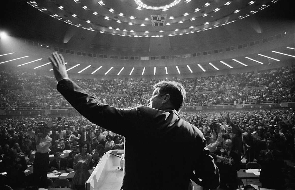 John F. Kennedy addresses a capacity crowd in the Dallas Memorial Auditorium while campaigning for president in 1960. (Photo by Shel Hershorn. Briscoe Center for American History, University of Texas at Austin.)