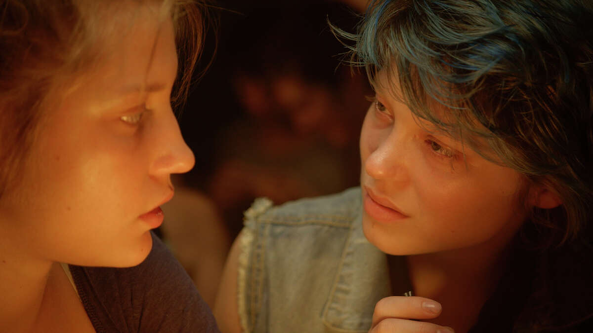 """This photo released by courtesy of Sundance Selects shows Adele Exarchopoulos, left, as Adele, and Lea Seydoux, as Emma, in the film, """"Blue Is the Warmest Color,"""" directed by Abdellatif Kechiche. (AP Photo/Courtesy Sundance Selects) ORG XMIT: CAET228"""