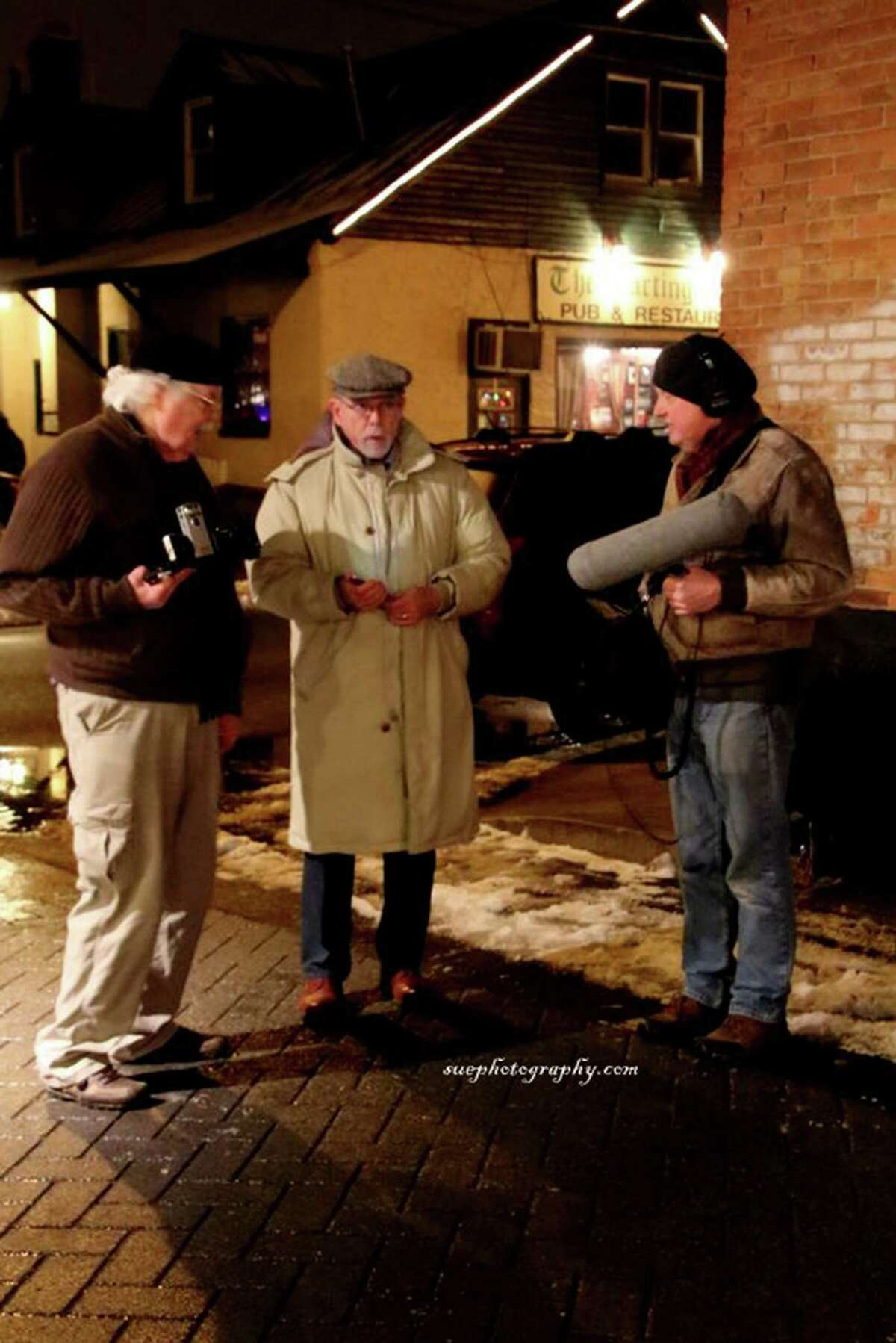 Bill Sanderson in Saratoga Springs with director Roger Wyatt, left, and sound engineer Keith Dayer, right (photo by Sue Clark)