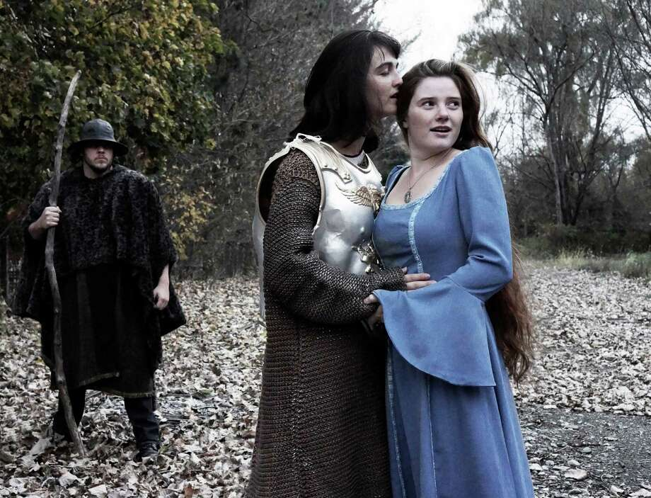 """Gino Costabile in background as The Old One; Maizy Scarpa as Hans; Autumn Hausthor as Ondine in the Hubbard Hall fall 2013 production of """"Ondine."""" (John Sutton)"""