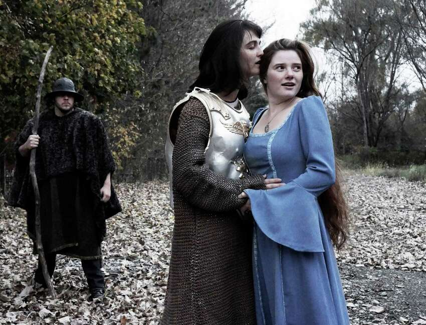 Gino Costabile in background as The Old One; Maizy Scarpa as Hans; Autumn Hausthor as Ondine in the Hubbard Hall fall 2013 production of