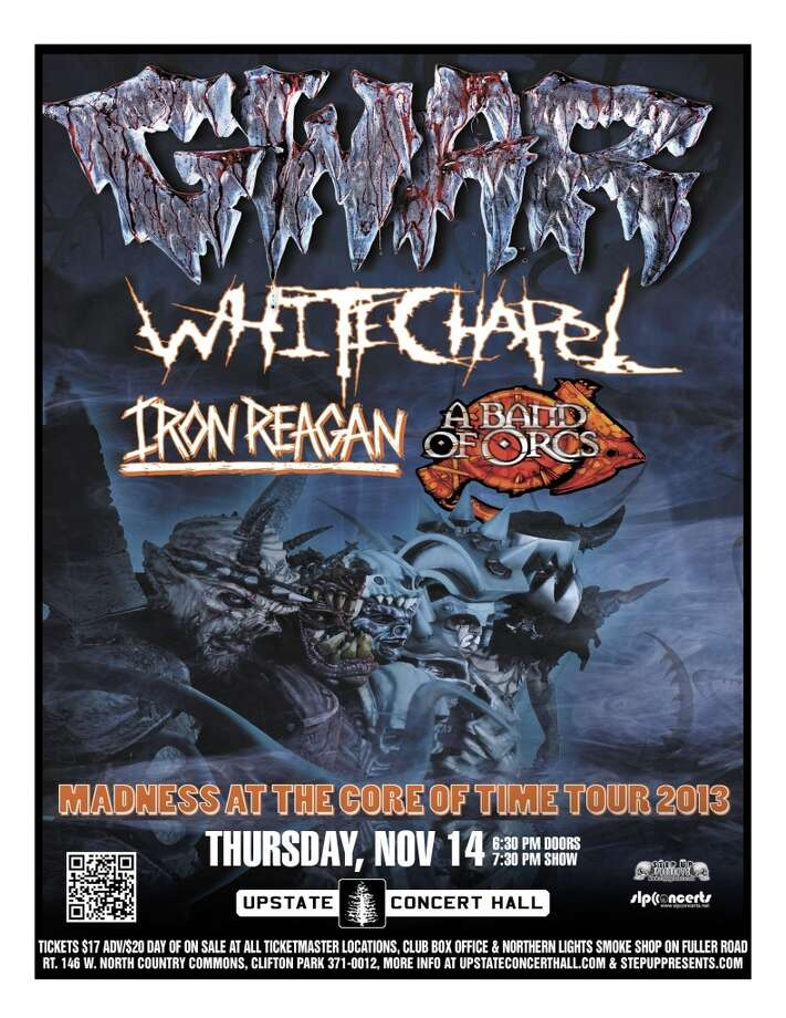 See GWAR with guests White Chapel, Iron Reagan, and A Band Of Orcs on Thursday, November 14th at Upstate Concert Hall. Door opens at 6:30, show starts at 7:30.