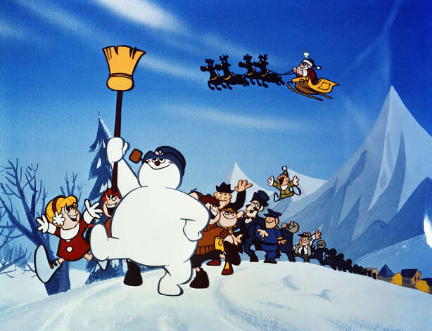 Frosty and his friends set off in search of the North Pole, in 'Frosty The Snowman,' the classic animated musical special narrated by Jimmy Durante. 'Frosty' airs on CBS at 8 p.m., EST, Friday, Nov. 30, 2001. (AP Photo/CBS) / CBS