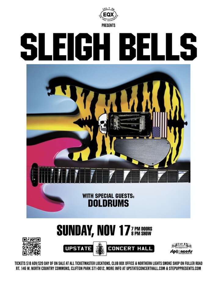 SLEIGH BELLS, with special guests Doldrums, will play Sunday, November 17th at Upstate Concert Hall. Doors open at 7:00, and the show starts at 8:00.