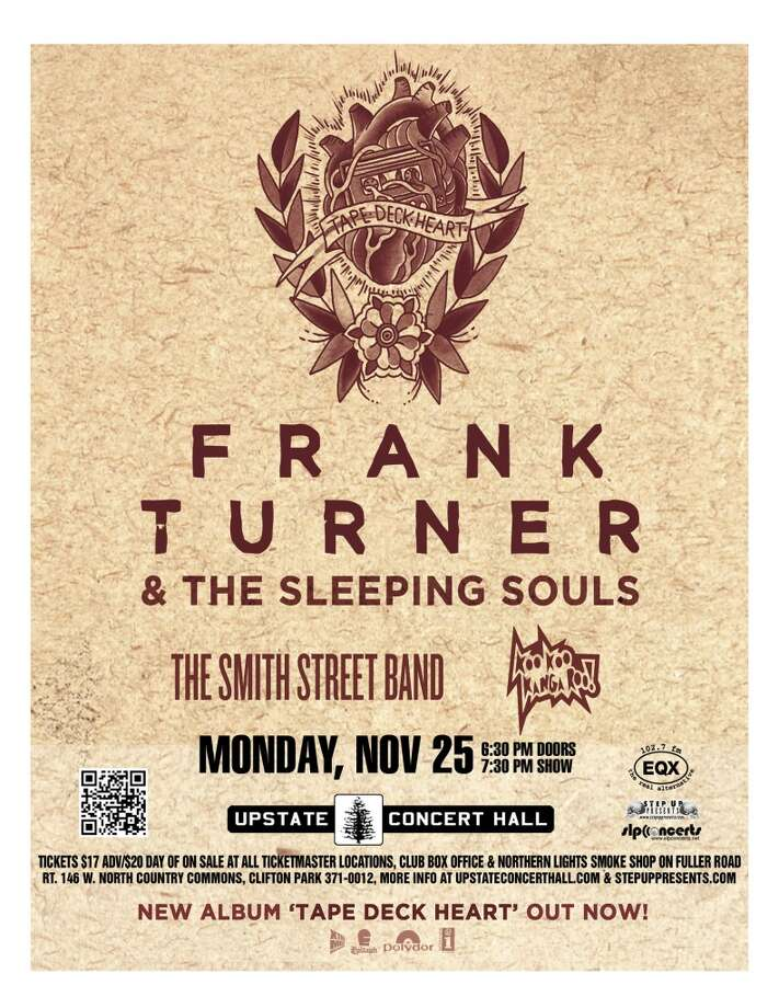 See Frank Turner and The Sleeping Souls, with guests The Smith Street Band and Koo Koo Kanga Roo! at Upstate Concert Hall on Monday, November 25th. Doors open at 6:30, show starts at 7:30.