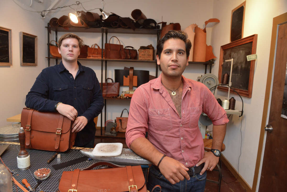 Guy Rubio (right) and his cousin, Falcon Craft Rubio hand craft leather satchels and bags at Bexar Goods Co., bexargoods.com.
