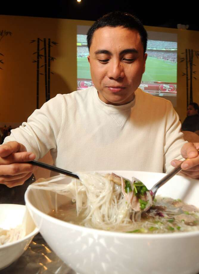 Where:Nom Nom Noodles, 1635 Eldridge Parkway, 281-497-6028  What it is: The e-NOM-ous Challenge  The Challenge: You must eat two pounds of noodles and two pounds of meat and one enormous bowl of pho. Diners have an hour to finish.   Cost: $34.99  The reward: A t-shirt and a $50 gift card to the restaurant Photo: Dave Rossman, For The Houston Chronicle