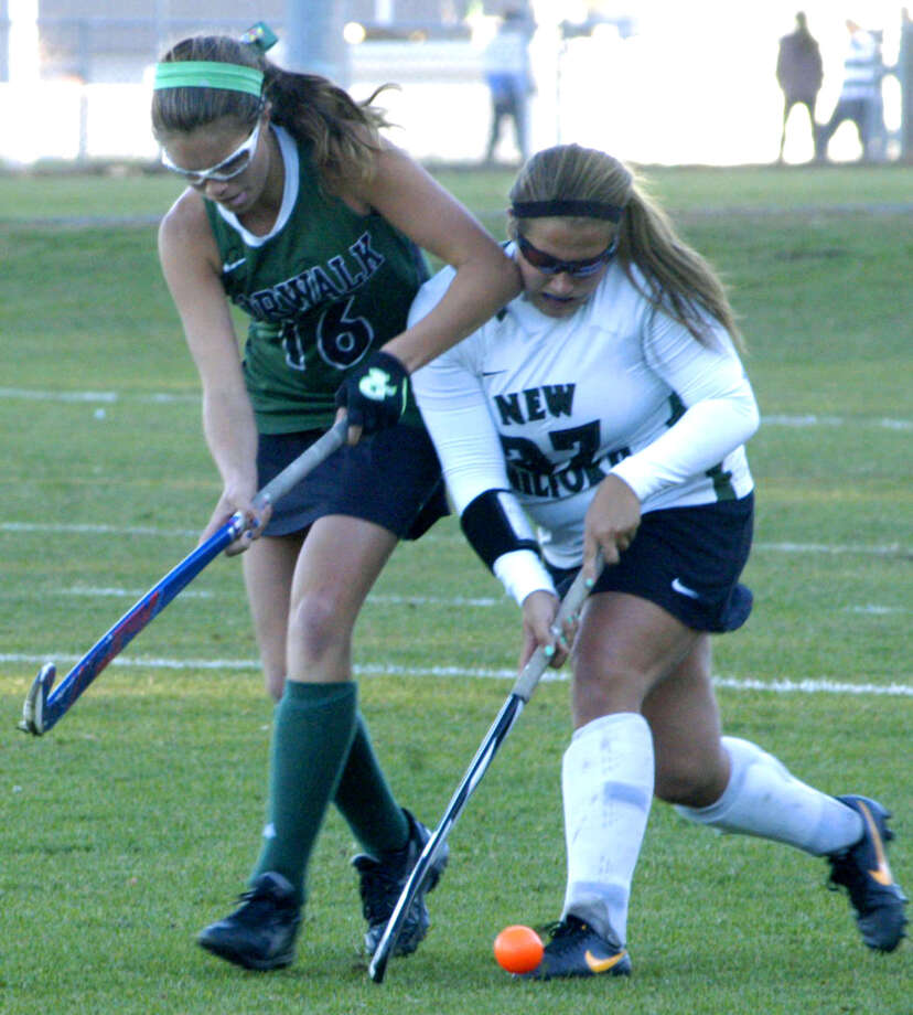 The Green Wave's Lindsey Heaton shrugs off a shot to the face to maintain possession during New Milford High School field hockey's 1-0 victory over Norwalk in the playdown round of the state class 'L' tournament at NMHS. Nov. 4, 2013 Photo: Norm Cummings / The News-Times