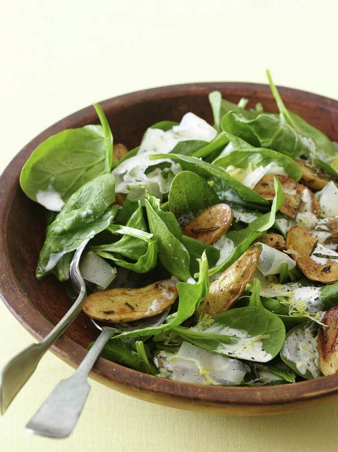Delish: Redbook recipe for Roasted Potato, Spinach, and Parmesan Salad. Photo: Romulo Yanes / Redbook