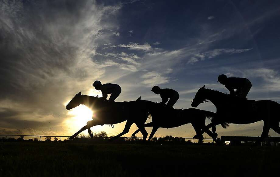 Jockeys urge on their mounts as they thunder down the track at Huntingdon racecourse in Huntingdon, 