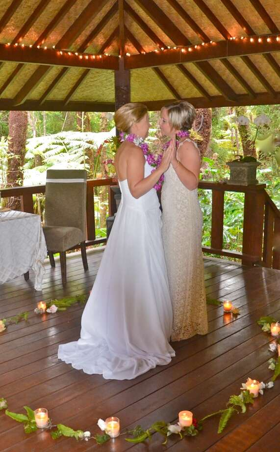Hawai'i Island:Bay Area native Gail Mahinui, whose rainforest wedding pavilion in Volcano (pictured) has already hosted celebrations of civil unions and commitment ceremonies for same-sex couples,  says she is looking forward to offering   officially recognized marriage ceremonies for all couples. Photo: Mahinui Hawaii Island Weddings