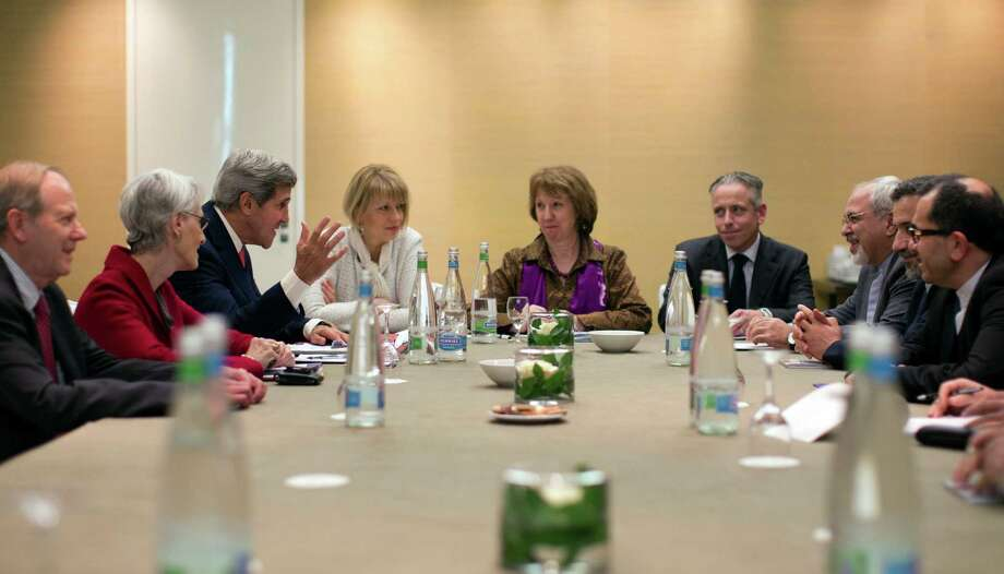 U.S. Secretary of State John Kerry, third left, meets with EU High Representative for Foreign Affairs, Catherine Ashton, center, and Iranian Foreign Minister Mohammad Javad Zarif, third right,  at the Iran Nuclear talks earlier this month. Photo: Jason Reed, Associated Press / POOL Reuters