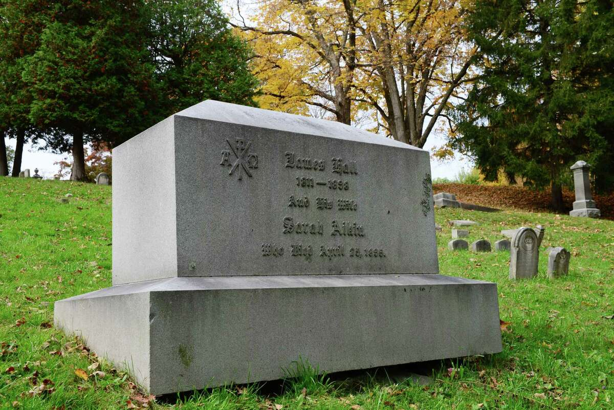 James Hall was the New York State geologist and first state surveyor. His grave is near the Stanford burial vault in section 18 of Albany Rural Cemetery in Menands.