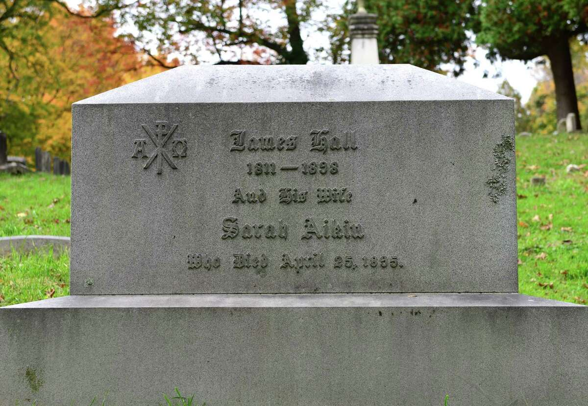 James Hall was the New York State geologist and first state surveyor. His grave is near the Stanford burial vault in section 18 of Albany Rural Cemetery in Menands. (Will Waldron/Times Union)