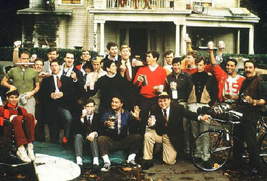 "Animal House  The 1978 comedy starred Jim Belushi, Donald Sutherland, Tim Hulce and Kevin Bacon, and popularized both toga parties and ""Louie, Louie."""