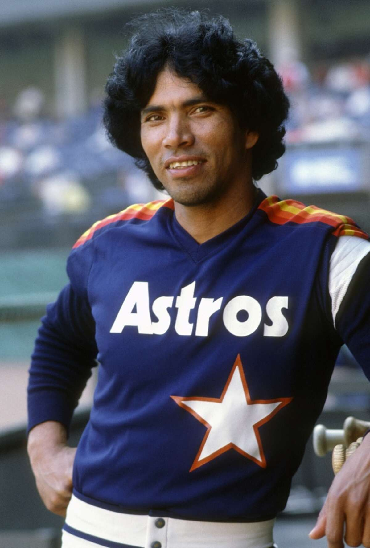Outfielder Jose Cruz #25 of the Houston Astros smiles for the camera in this portrait during an Major League Baseball game circa 1975. Cruz played for the Astros from 1975-87. (Photo by Focus on Sport/Getty Images)