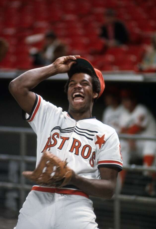 Cesar Cedeno #28 of the Houston Astros looks on laughing before the start of an Major League Baseball game circa 1974 at The Astro Dome in Houston, Texas. Cedeno played for the Astros from 1970-81. (Photo by Focus on Sport/Getty Images) Photo: Focus On Sport, Getty Images