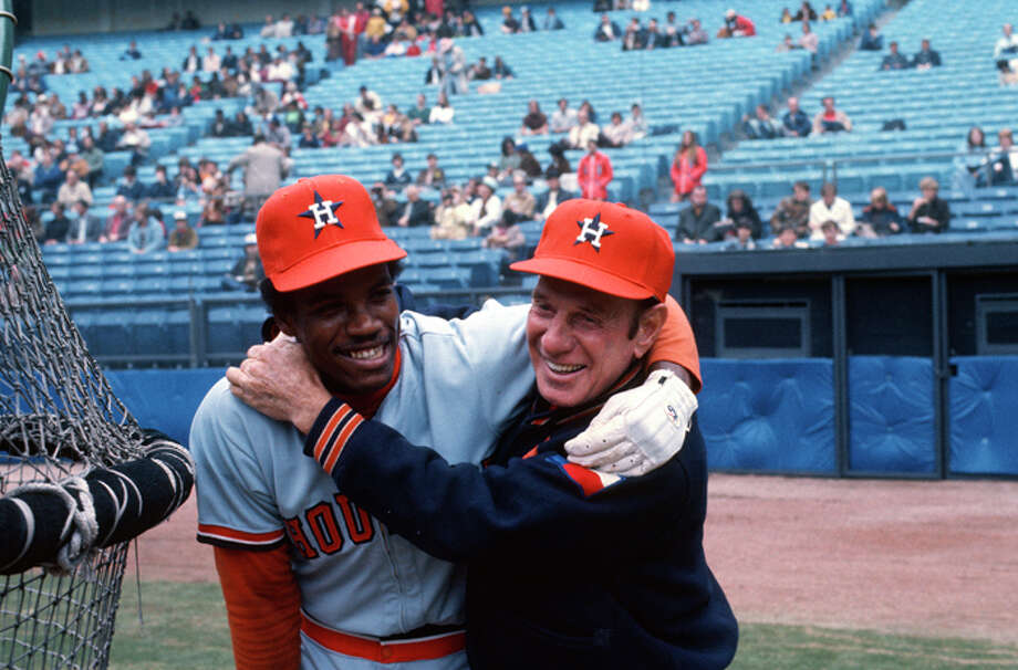 Manager Leo Durocher #2 and Cesar Cedeno #28 of Houston Astros play around with one another during batting practice before the start of an Major League Baseball game circa 1973. Durocher managed the Astros from 1972-73. (Photo by Focus on Sport/Getty Images) Photo: Focus On Sport, Getty Images / 1973 Focus on Sport