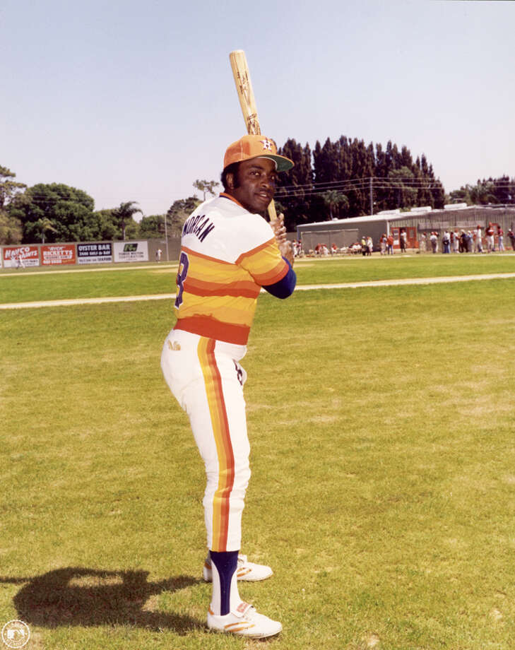 American baseball player Joe Morgan, 2nd baseman for the Houston Astros, poses in his uniform holding a baseball bat, Florida, circa 1970. (Photo by Photo File/Getty Images) Photo: Photo File, Getty Images / 2004 Getty Images