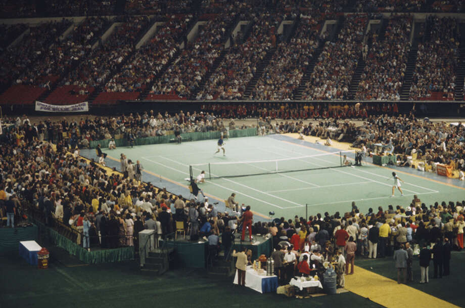 "Billie Jean King in a match against Bobby Riggs in front of 30,472 spectators at the Houston Astrodome on September 20, 1973 in Houston, Texas. King defeated Riggs in three straight sets 6-4, 6-3, and 6-3, winning the match which came to be known as ""The Battle Of The Sexes"". (Focus on Sport/Getty Images) Photo: Focus On Sport, Focus On Sport/Getty Images / 1973 Focus on Sport"