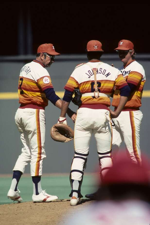 Pitching coach Mel Wright #2 of the Houston Astros conferences on the mound with catcher Cliff Johnson #6 and pitcher Larry Dierker during a game in April 1976 between the Astros and the Cincinnati Reds at Riverfront Stadium in Cincinnati, Ohio. (Photo by Diamond Images/Getty Images) Photo: Diamond Images, Diamond Images/Getty Images