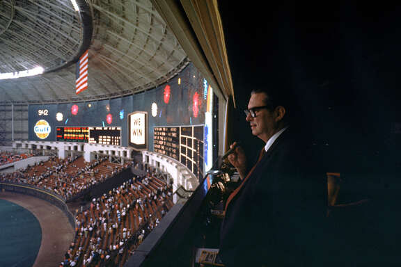 Judge Roy Hofheinz looking out over the playing field at the Houston Astrodome.  (Photo by Mark Kauffman/Time & Life Pictures/Getty Images)