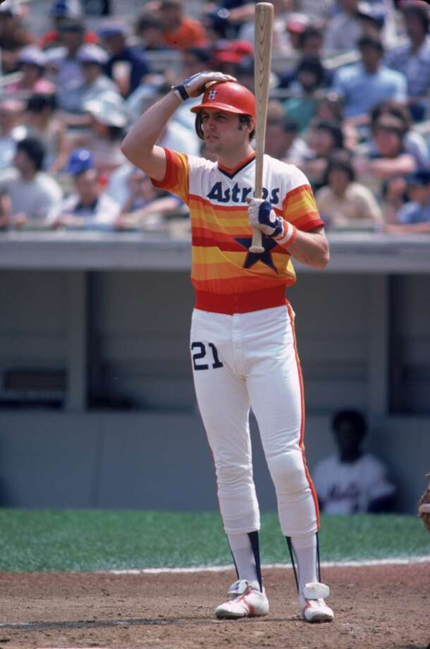 Terry Puhl #21 of the Houston Astros gets a sign during a game against the New York Mets  during the 1979 season at Shea Stadium in Flushing, New York. (Photo by Rich Pilling/MLB Photos via Getty Images) Photo: Rich Pilling, MLB Photos Via Getty Images