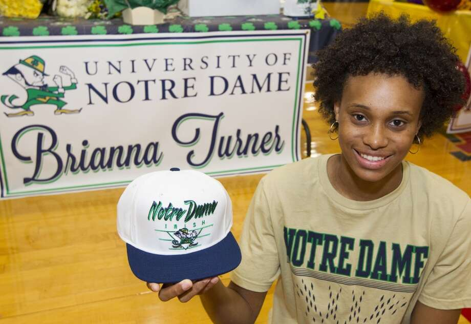 Manvel's Brianna Turner signed with the University of Notre Dame to play basketball on Wednesday. Photo: J. Patric Schneider, For The Chronicle