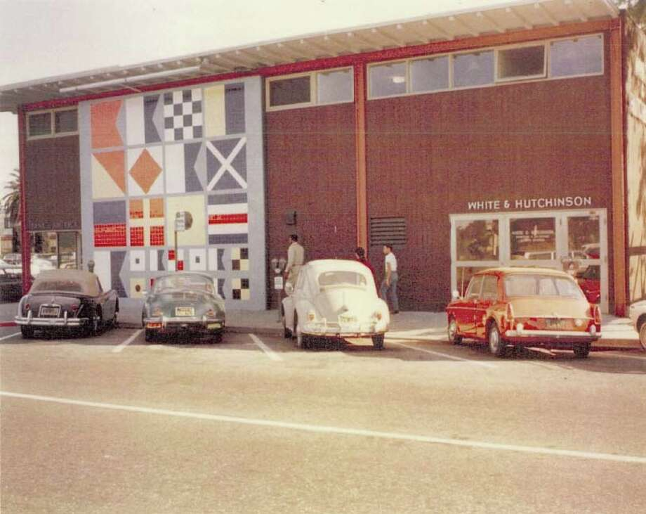 The  mural behind the BofA in Sausalito, after its completion in 1956. Photo courtesy City of Sausalito.