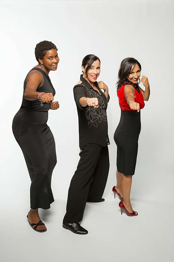 Micia Mosely (left), Marga Gomez and Dhaya Lakshminarayanan star in Brava's New Year's Eve Comedy Fiesta with countdown dance party and Champagne toast at Brava Theater Center in San Francisco. Photo: David Wilson