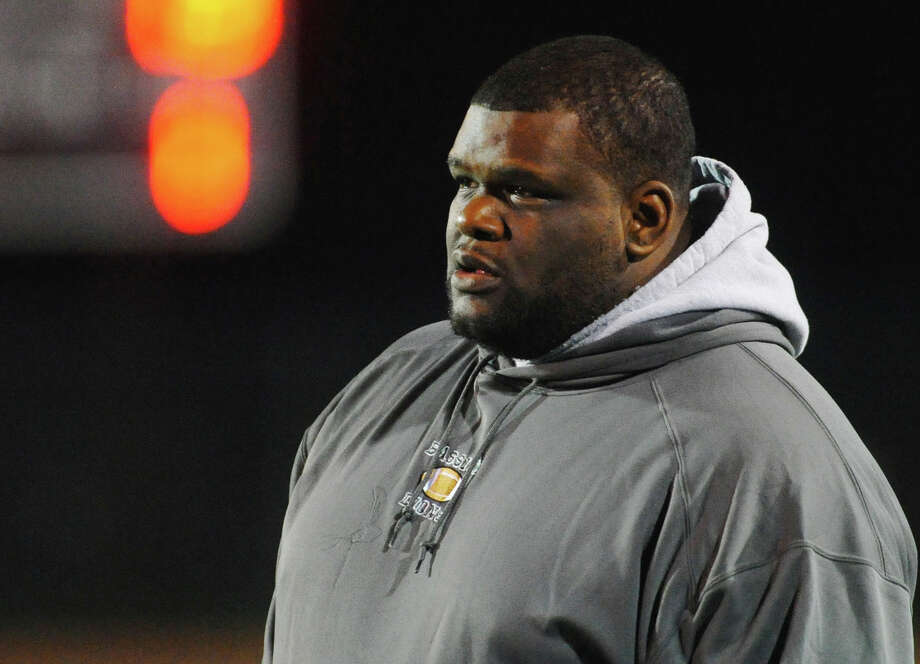 Bassick Head Coach Derrick Lewis, during boys football action against Bullard-Havens in Bridgeport, Conn. on Tuesday November 20, 2012. Photo: Christian Abraham / Connecticut Post