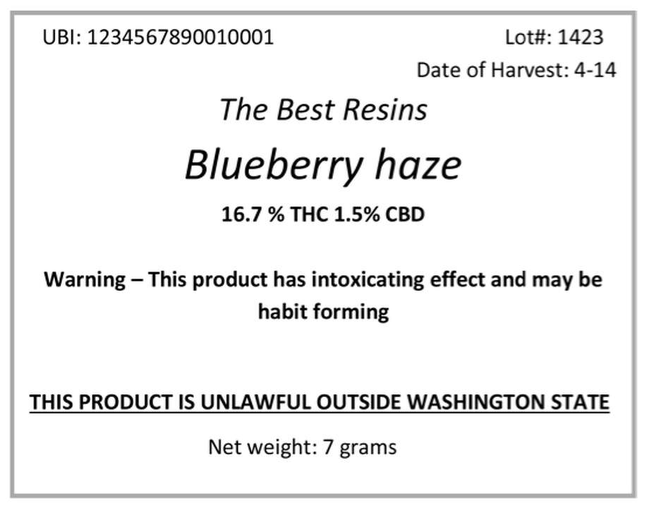"21 - Package labeling for buds or ""usable marijuana"" when sold at retail must include the following warnings and information (not the complete list):  ""Warning: This product has intoxicating effects and may be habit forming. Smoking is hazardous to your health""  ""There may be health risks associated with consumption of this product""  ""Should not be used by women that are pregnant or breast feeding""  ""For use only by adults twenty-one and older. Keep out of reach of children""  ""Marijuana can impair concentration, coordination, and judgment. Do not operate a vehicle or machinery under the influence of this drug""  Statement that discloses all pesticides applied to the marijuana plants and growing medium during production and processing.  The business or trade name and Washington state unified business identifier number of the licensees that produced, processed, and sold the usable marijuana  Concentration of THC, THCA, CBD, including a total of active cannabinoids (potency profile)  Net weight in ounces and grams or volume as appropriate"