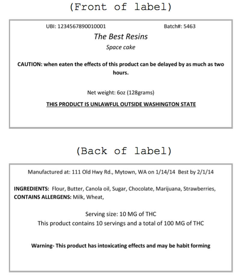"""22 - Package labeling for marijuana-infused products similar to previous slide, but also:  """"This product is infused with marijuana or active compounds of marijuana""""  """"Caution: When eaten or swallowed, the intoxicating effects of this drug may be delayed by two or more hours.""""  Statement that discloses the type of extraction method (for the concentrate used in the product), including any solvents, gases, or other chemicals or compounds used to produce or that are added to the extract."""