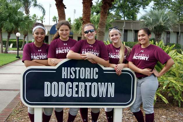 Hannah Isaacson of Colonie, second from left, is among those who attended last week's Softball Factory's Select Training at Historic Dodgertown in Vero Beach, Fla. The training event, which included 39 girls aged 13 to 18 from 16 states. (Megan Gandy)