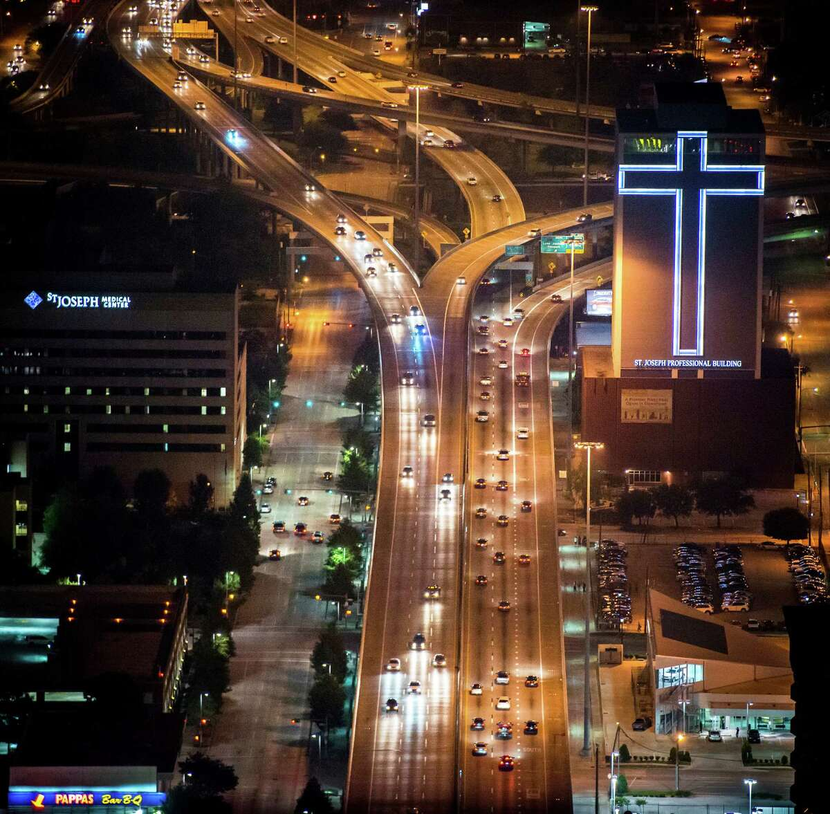 Pierce Elevated cuts through downtown between the St. Joseph Medical Center and its Professional Building. TxDOT has three options for widening I-45 near downtown.
