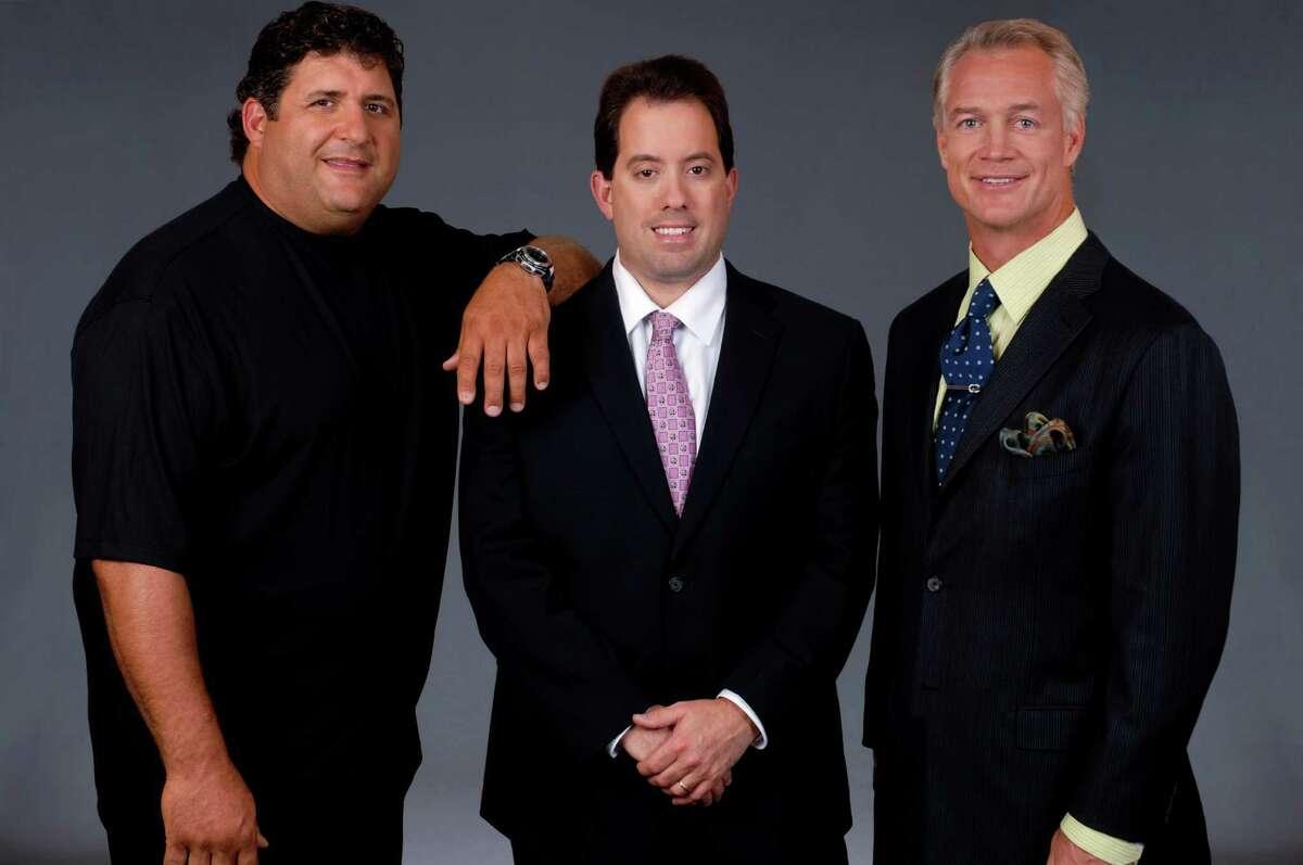 NFL on FOX: sideline analyst Tony Siragusa, play-by-play announcer Kenny Albert and analyst Daryl Johnston. (Photo courtesy Fox Sports)