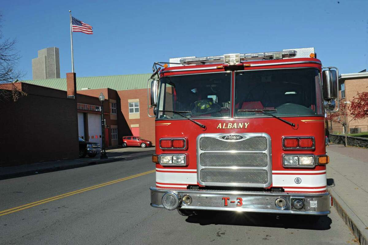 A City of Albany fire engine is parked across the street from the South End fire house on South Pearl St. on Wednesday, Nov. 13, 2013 in Albany, N.Y. (Lori Van Buren / Times Union)