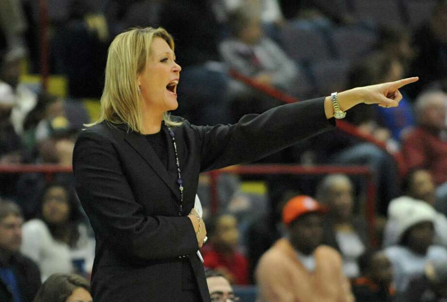 UAlbany head coach Katie Abrahamson-Henderson yells to a player during a basketball game against Siena at the Times Union Center  Friday, Nov. 8, 2013 in Albany, N.Y. (Lori Van Buren / Times Union) Photo: Lori Van Buren / 00024542A