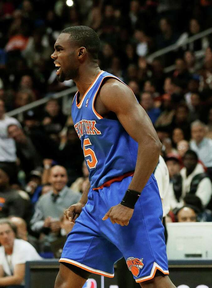 New York Knicks guard Tim Hardaway Jr. reacts after scoring in the second half of an NBA basketball game against the Atlanta Hawks on Wednesday, Nov. 13, 2013, in Atlanta. New York won 95-91. (AP Photo/John Bazemore) ORG XMIT: GAJB110 Photo: John Bazemore / AP