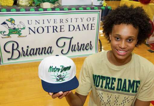 Manvel's Brianna Turner's Irish eyes were shining over her signing to play basketball at Notre Dame on Wednesday. Photo: J. Patric Schneider, Freelance / © 2013 Houston Chronicle