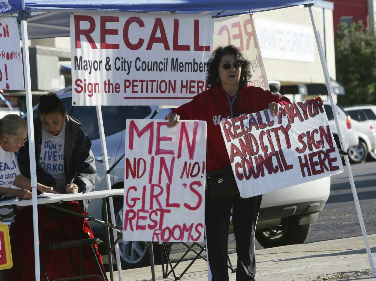Lupe Riojas was among the critics of the city's updated nondiscrimination ordinance who were gathering signatures Wednesday at San Pedro Avenue and Oblate Drive in an effort to recall District 1 Councilman Diego Bernal.