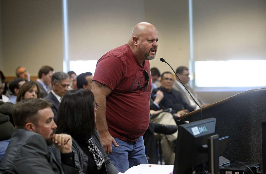 James Nation expresses his opinion to the city's Planning Commission as the panel hears comments on City South's future. Photo: Tom Reel / San Antonio Express-News